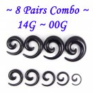 ~8 Pairs Combo~ Black Acrylic Spiral Curved Taper Ear Stretcher Expander 14G~00G Piercing