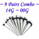 ~9 Pairs Combo~ 316L Surgical Steel Ear Tapers Starter Kit Set Stretchers Gauges 1.6 ~10mm