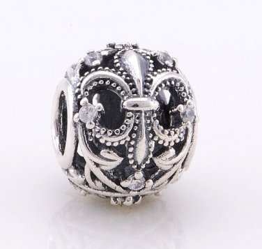 925 Sterling Silver Fleur De Lis w/ CZ Charm - fits European Beads Bracelets