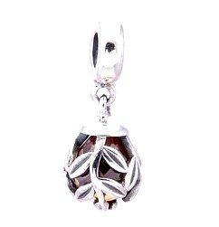 925 Sterling Silver Golden Laurel Leaves Pendant Charm fits European Beads Bracelets