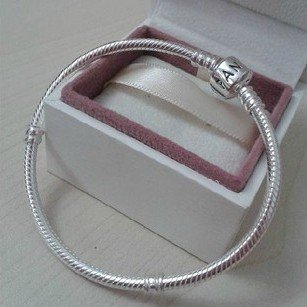 925 Sterling Silver Bracelet with Barrel Clasp - fits European Beads Charms