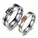 """Set of Titanium Stainless Steel Cross """"Endless Love"""" CZ Anniversary Couple Engagement Rings Band"""