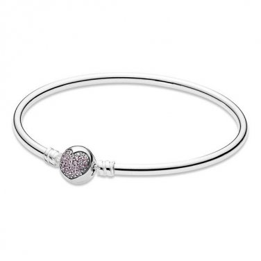 925 Sterling Silver Bangle Bracelet w/ Pink Heart Clip Clasp fits European Beads