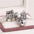 925 Sterling Silver SPARKLING CHRISTMAS Charms Gift Set - fits European Bracelets