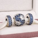925 Sterling Silver MIDNIGHT BLUE STAR Charms Gift Set - fits European Bracelets