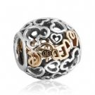 "925 Sterling Silver Openwork 14ct Mickey ""Dream"" Charm Bead"