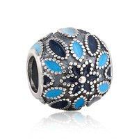 925 Sterling Silver Blue Enamel Cathedral Rose Charm - fits European Beads Bracelets