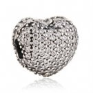925 Sterling Silver Heart Pave Clip w/ CZ Charm