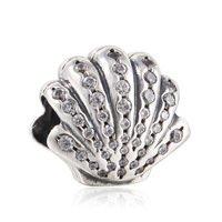 925 Sterling Silver Ariel Shell w/ Clear CZ Charm Bead