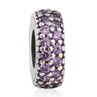 925 Sterling Silver Sparkling Fancy Purple CZ Spacer Bead