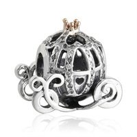 925 Sterling Silver 14ct Cinderella Pumpkin Coach Charm Bead