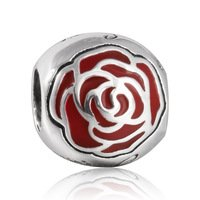 925 Sterling Silver Belle Enchanted Red Enamel Rose Charm Bead