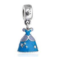 925 Sterling Silver Cinderella Dress w/ Blue Enamel Dangle Pendant Charm