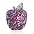 925 Sterling Silver Red Pave Apple Charm Bead