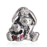 925 Sterling Silver Eeyore w/ Dark Pink Enamel Charm