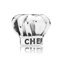 925 Sterling Silver I Love Cooking Chef Hat Charm Bead