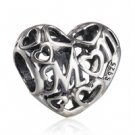 925 Sterling Silver Openwork Motherly Love Mum Charm Bead