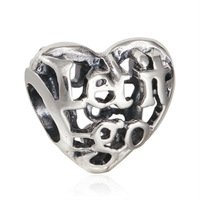 925 Sterling Silver Openwork Let It Go Heart Charm Bead