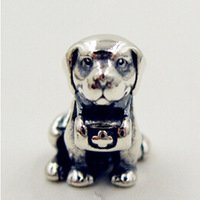 925 Sterling Silver Saint Bernard Dog Charm Bead