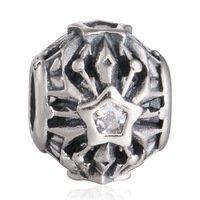925 Sterling Silver Openwork Frozen Snowflake w/ CZ Charm Bead