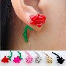 Pair 3D Rose Flower Stud Fake Gauge Earrings - Cool Rock Punk Metal Korean Style