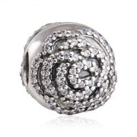 925 Sterling Silver Shimmering Rose Clip Charm