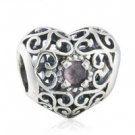 925 Sterling Silver February Birthstone Signature Heart Charm Bead