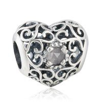 925 Sterling Silver June Birthstone Signature Heart Charm Bead