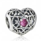 925 Sterling Silver July Birthstone Signature Heart Charm Bead