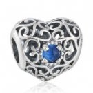 925 Sterling Silver December Birthstone Signature Heart Charm Bead