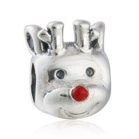925 Sterling Silver Red-Nosed Reindeer Charm Bead