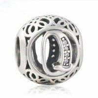 925 Sterling Silver Vintage Q Charm Bead