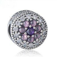 925 Sterling Silver Dazzling Floral Multi-Colored Charm Bead