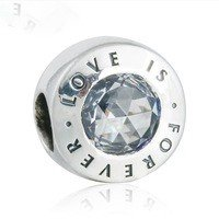 925 Sterling Silver Love Is Forever Charm Bead