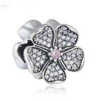 925 Sterling Silver Sparkling Apple Blossom Charm Bead