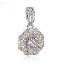 925 Sterling Silver Blooming Dahlia w/ Pink Enamel Dangle Pendant Charm