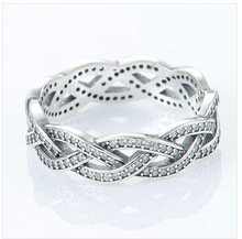 925 Sterling Silver Sparkling Silver Braid Ring Band