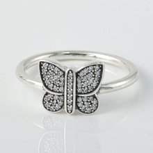 925 Sterling Silver Sparkling Butterfly Stacking Ring Band
