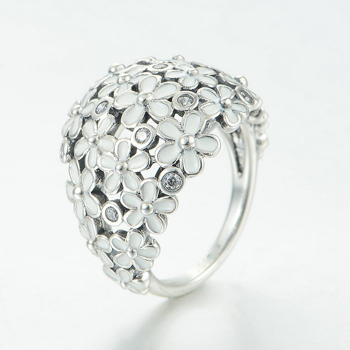925 Sterling Silver Darling Daisy Bouquet Ring Band