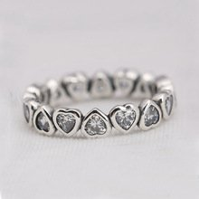 925 Sterling Silver Sparkling Heart Stacking Ring Band
