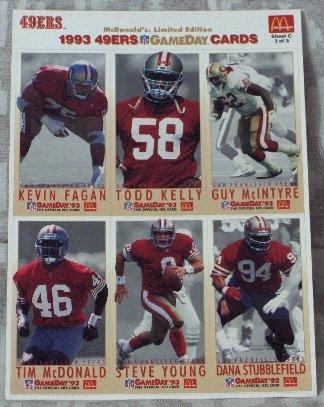 McDONALDS FLEER Gameday Uncut 1993 49ers Football 1 Promo Sheet C 3 of 3