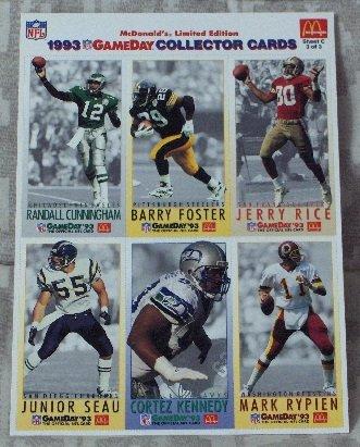 McDONALDS FLEER Gameday Uncut 1993 Football 1 Promo Sheet C 3 of 3 Jerry Rice