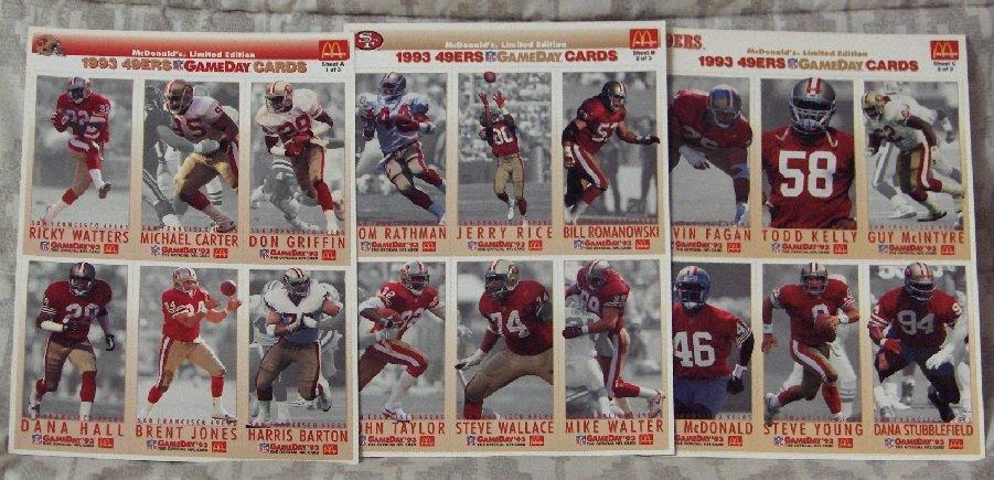 McDONALDS FLEER Gameday Uncut 1993 San Francisco 49ers Team 3 Promo Sheets