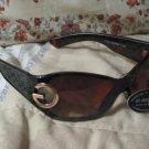 DG Designer Sunglasses Womens Black Brown Tone Beach Shades New