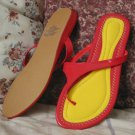 T STRAP WEDGE SANDALS Sz 8 Red Yellow New Sandals