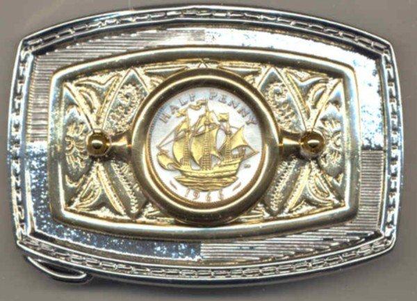 "103-BB Belt Buckle-British ½ penny ""Sailing ship"" (size of a U.S. quarter)"