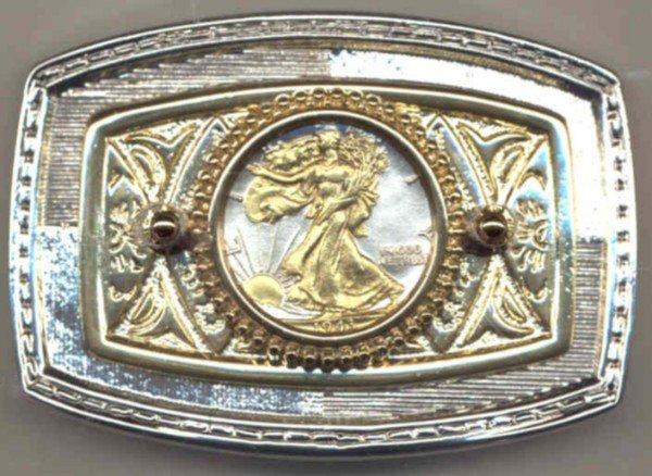30BB Belt Buckle - U.S. Walking Liberty half dollar (minted1916-1947)