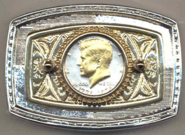 34BB Belt Buckle - Bicentennial half dollar (1976)