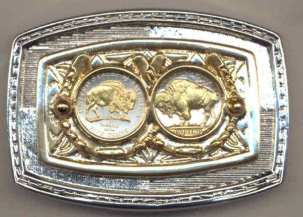8-92BB Belt Buckle - New (2005) Buffalo & old type Buffalo (1913 - 1938) nickels