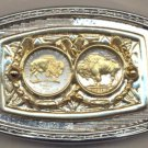 8-92BB Belt Buckle - New (2005) Buffalo & old type Buffalo (1913 - 1938) nickels
